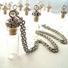 Tiny Bottle Necklace Crystal Decorated Cork Silver Chain DIY Gift 2ml USA Vial