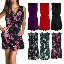 Womens Ladies Ruched Drape Twisted Knot Front Bow Tie Belted Midi Dress 8-26