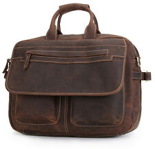 Vintage Genuine Cowhide Leather Men's Laptop Briefcase Shoulder Messenger Bag