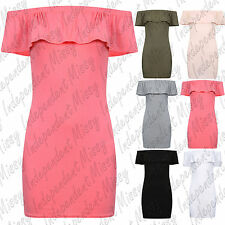 Womens Ladies Frill Off Shoulder Ruffle Bodycon Mini Party Dress Top 8-14
