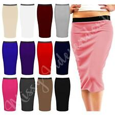 Womens Jersey Elasticated Pull up Ladies Pencil Bodycon Office Work Skirt 8-22