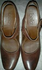 BOLO BY BORN WOMENS LEATHER HIGH HEEL SLING ANKLE STRAP SHOE BROWN 8.5