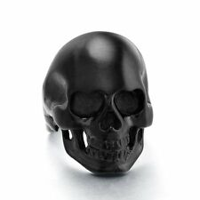 Fashion Men's Black Tone Stainless Steel Ring Cool Skull Head Band Jewelry