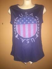 Womens LOL Vintage Sleeveless U.S.A Top Navy Blue Size Small or Medium NEW