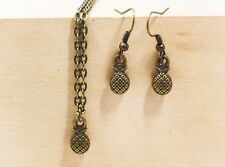 Mini Pineapple Dangling Earrings Necklace Antique Bronze Set Retro Style Fruit