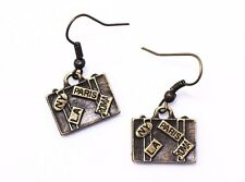 Miniature Suitcase Dangling Earrings Necklace Antique Bronze Jewelry Set Bags