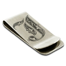 Stainless Steel Royal Initial Monogram Engraved Credit Card Cash Money Clip