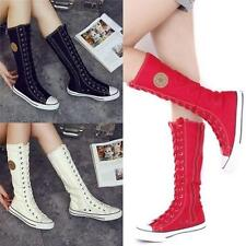 Chic Women Girl Shoes Sneaker Punk EMO Lace Up Zip Boot Knee High Flat Tall Boot