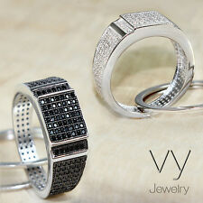 White Black CZ Men Pinky Ring Solid Sterling 925 Silver Cubic Zirconia all Size
