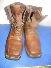 Mens Justin #WK462  8 inch Square toe Steel toe Lace up Boots TAN Size 13D