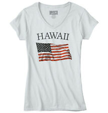 Hawaii Patriotic Home State American USA T Shirt Flag Gift Junior V-Neck Tee