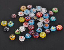 50/100pcs Mixed Glass Flat Round Loose Spacer Bead Charm Finding 6MM