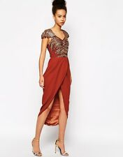 VIRGOS LOUNGE RUST EMBELLISHED EVENING PARTY MIDI MAXI DRESS ALL SIZES