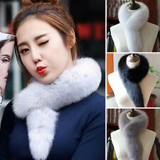 Women Real Whole Fox Fur Scarf Collar Shawl Wrap Cape Winter Fur Stole Scarves