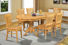 OVAL DINETTE DINING ROOM TABLE SET WOODEN SEAT IN OAK FINISH