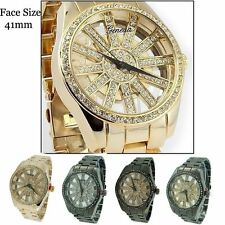 Ladies See Through Geneva CZ Round Dial Fashion Quartz Wrist Watch 41mm