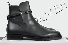 VALENTINO 1245$ Authentic New Black Leather Rockstud Chelsea Beatle Ankle Boots