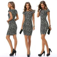 Women's Fully Characters Pattern Wiggle/Pencil Cocktail Slim Short Sleeves Dress