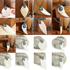 New Fashion White Hand-carved Shell Crystal Wings Feather Leaf Pendant Necklace