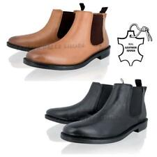 MENS BOYS LEATHER CHELSEA SLIP ON GUSSET CASUAL SMART ANKLE BOOTS SHOES SIZE