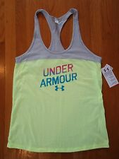 NWT UNDER ARMOUR COTTON SEMI-FITTED TANK TOP SHIRT TAXI YELLOW WOMENS LARGE XL