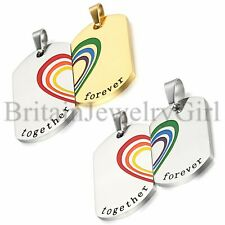 Matching Rainbow Pride Love LGBT Dog Tag Pendant Couple Necklaces Set Jewelry