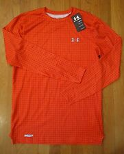 NWT UNDER ARMOUR LONG SLEEVE FITTED COLD GEAR SHIRT VOLCANO ORANGE MENS MEDIUM