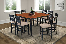 """54"""" SQUARE SUNDERLAND COUNTER HEIGHT PUB DINING TABLE SET in BLACK & CHERRY"""