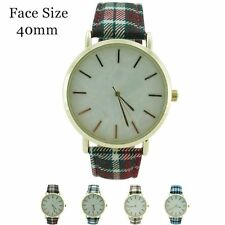 Ladies Party Watch - Plaid Print Leather Straps MOP Dial Fashion Watch 40mm