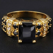 Size 8-12 Jewelry Womens Handmade 10KT Yellow Gold Filled Black Sapphire Ring