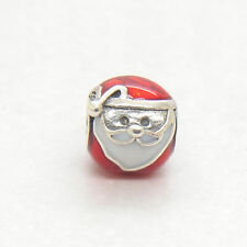 Authentic Genuine Sterling Silver Jolly Santa Red & White Enamel Charm bead