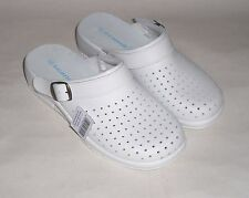Women Clogs m.Riemen white leather perforated Leather insole Slippers Mules new
