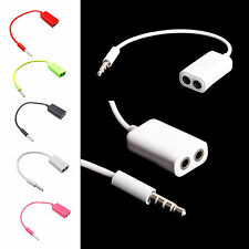3.5MM 1 Male To 2 Dual Female Audio Cable Earphone Splitter Adapter Share Music
