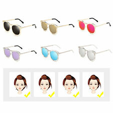 Women's Double Metal Frame with Arrow Colorful Round Lens UV400 Sunglasses BE