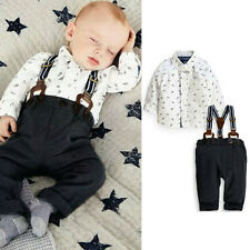 3-18M  Baby Kid Boy Toddler 2pc T-shirt Top+Bib Pants Overall Set Outfit Clothes