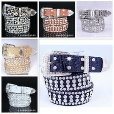 Fashion Leather Bling Rhinestone Crystal Western Cowgirl Belt Waistband Straps