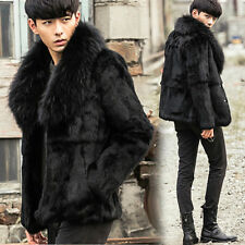 Men's Black 100% Genuine Whole Rabbit Fur Coat Jacket Outwear Raccoon Fur Collar