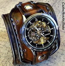 Steampunk Leather Wrist Watch, Skeleton Men's watch, Brown Leather Cuff,