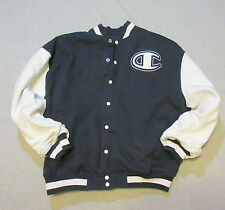 CHAMPION SPELL OUT LOGO VARSITY BUTTON JACKET COAT DARK BLUE MEN XXL X-LARGE