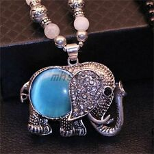 Ethnic Opal Necklace Korean Exaggerated Big Ears Elephant Sweater Chain Pendant