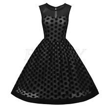 Vintage Sleeveless Mesh 50s 60s Rockabilly Polka Dot Big Circle Swing Tea Dress