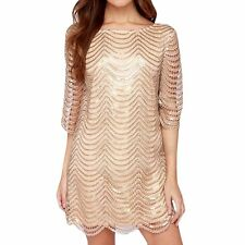 Spring Women Metallic Sequins 3/4 Sleeve Dress Sexy Cocktail Mini Dres PLUS SIZE