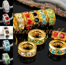 LOT Rhinestone Crystal Spacer Bead Big Hole fit European Charm Bracelets DIY EY