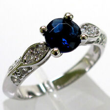 CLASSY 1 CT SAPPHIRE ROOUND CUT 925 STERLING SILVER RING SIZE 5-10