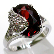 CLASSY 8 CT GARNET OVAL CUT 925 STERLING SILVER RING SIZE 5-10