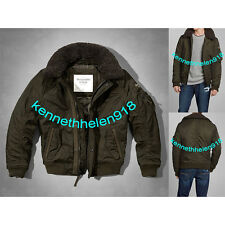 NWT ABERCROMBIE & FITCH MENS LAKE HARRIS BOMBER JACKET COAT OLIVE SIZE MEDIUM