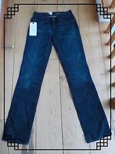 LEVIS BOLD CURVE DARK INDIGO WASHED BLUE STRAIGHT JEANS WAIST 26 27, 34 LEG NEW