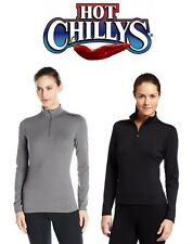 HOT CHILLYS WOMENS MEC SOLID ZIP T-NECK BASE LAYER TOP, GRANITE / BLACK (HC9913)