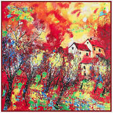 """NEW ARRIVAL 100% Twill Silk Red Oil Painting Women Square Shawl Scarf 39""""*39"""""""