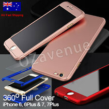 360° Hybrid Acrylic Hard Case Full Body Cover F iPhone 7 6s Plus TEMPERED GLASS
